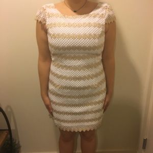 Lilly Pulitzer white and gold striped dress